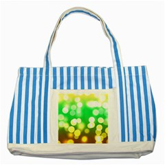 Soft Lights Bokeh 3 Striped Blue Tote Bag