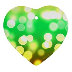 Soft Lights Bokeh 3 Heart Ornament (Two Sides)