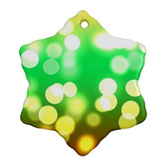 Soft Lights Bokeh 3 Snowflake Ornament (Two Sides)