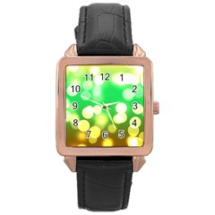 Soft Lights Bokeh 3 Rose Gold Leather Watch