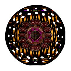 A Flaming Star Is Born On The  Metal Sky Round Filigree Ornament (two Sides) by pepitasart