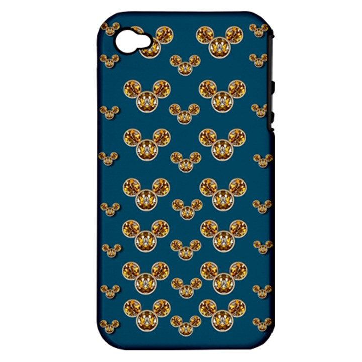 Cartoon Animals In Gold And Silver Gift Decorations Apple iPhone 4/4S Hardshell Case (PC+Silicone)