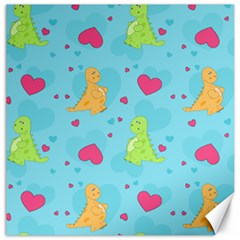 Dinosaur Love Pattern Canvas 12  X 12   by allthingseveryday
