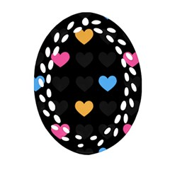 Emo Heart Pattern Ornament (oval Filigree) by allthingseveryday