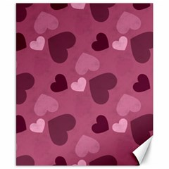 Mauve Valentine Heart Pattern Canvas 8  X 10  by allthingseveryday