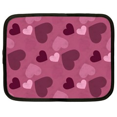 Mauve Valentine Heart Pattern Netbook Case (xl)  by allthingseveryday