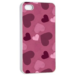 Mauve Valentine Heart Pattern Apple Iphone 4/4s Seamless Case (white) by allthingseveryday