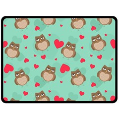Owl Valentine s Day Pattern Fleece Blanket (large)  by allthingseveryday