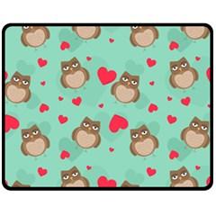 Owl Valentine s Day Pattern Fleece Blanket (medium)  by allthingseveryday