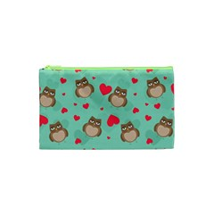 Owl Valentine s Day Pattern Cosmetic Bag (xs) by allthingseveryday