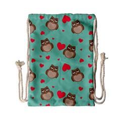 Owl Valentine s Day Pattern Drawstring Bag (small) by allthingseveryday