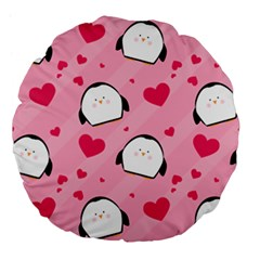 Penguin Love Pattern Large 18  Premium Flano Round Cushions