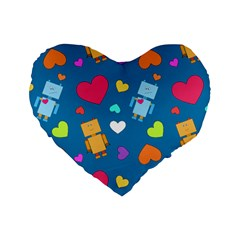 Robot Love Pattern Standard 16  Premium Heart Shape Cushions by allthingseveryday