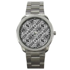 Black And White Ornate Pattern Sport Metal Watch by dflcprints