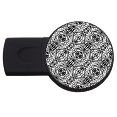 Black And White Ornate Pattern Usb Flash Drive Round (4 Gb) by dflcprints