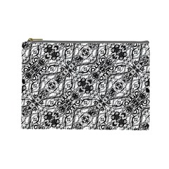 Black And White Ornate Pattern Cosmetic Bag (large)