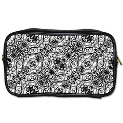 Black And White Ornate Pattern Toiletries Bags 2 Side by dflcprints
