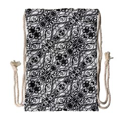 Black And White Ornate Pattern Drawstring Bag (large) by dflcprints