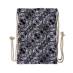 Black And White Ornate Pattern Drawstring Bag (small) by dflcprints