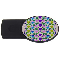 Love In Eternity Is Sweet As Candy Pop Art Usb Flash Drive Oval (4 Gb) by pepitasart