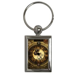 Wonderful Steampunk Desisgn, Clocks And Gears Key Chains (rectangle)  by FantasyWorld7