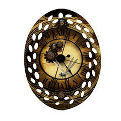 Wonderful Steampunk Desisgn, Clocks And Gears Oval Filigree Ornament (two Sides) by FantasyWorld7