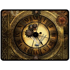 Wonderful Steampunk Desisgn, Clocks And Gears Double Sided Fleece Blanket (large)  by FantasyWorld7