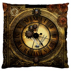 Wonderful Steampunk Desisgn, Clocks And Gears Large Flano Cushion Case (one Side) by FantasyWorld7