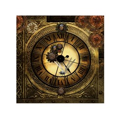 Wonderful Steampunk Desisgn, Clocks And Gears Small Satin Scarf (square)  by FantasyWorld7