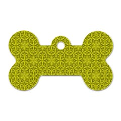 Flower Of Life Pattern Lemon Color  Dog Tag Bone (one Side) by Cveti