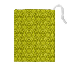 Flower Of Life Pattern Lemon Color  Drawstring Pouches (extra Large) by Cveti