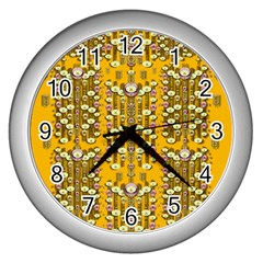 Rain Showers In The Rain Forest Of Bloom And Decorative Liana Wall Clocks (silver)  by pepitasart
