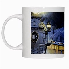 Train Through Winter Mountain Town White Mugs by allthingseveryday