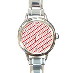 Candy Cane Stripes Round Italian Charm Watch