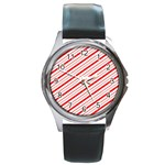 Candy Cane Stripes Round Metal Watch