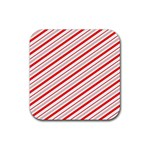 Candy Cane Stripes Rubber Coaster (Square)