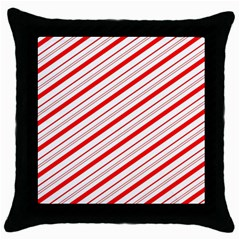 Candy Cane Stripes Throw Pillow Case (black) by jumpercat