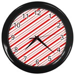 Candy Cane Stripes Wall Clocks (Black)