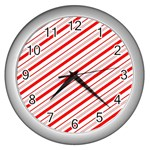 Candy Cane Stripes Wall Clocks (Silver)