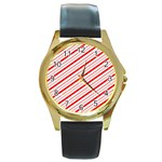 Candy Cane Stripes Round Gold Metal Watch