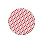 Candy Cane Stripes Rubber Coaster (Round)