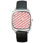 Candy Cane Stripes Square Metal Watch
