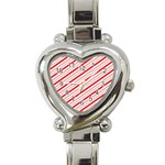 Candy Cane Stripes Heart Italian Charm Watch