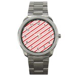 Candy Cane Stripes Sport Metal Watch