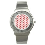 Candy Cane Stripes Stainless Steel Watch