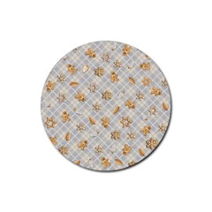 Gingerbread Light Rubber Round Coaster (4 Pack)