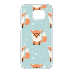 Cute Fox Pattern Samsung Galaxy S7 Edge White Seamless Case by allthingseveryday