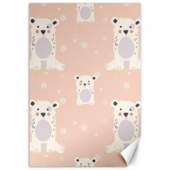 Cute Polar Bear Pattern Canvas 12  X 18   by allthingseveryday