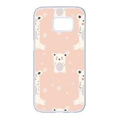 Cute Polar Bear Pattern Samsung Galaxy S7 Edge White Seamless Case by allthingseveryday