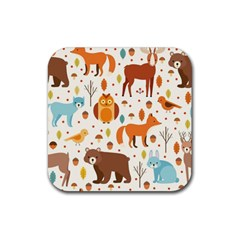 Woodland Friends Pattern Rubber Square Coaster (4 Pack)  by allthingseveryday